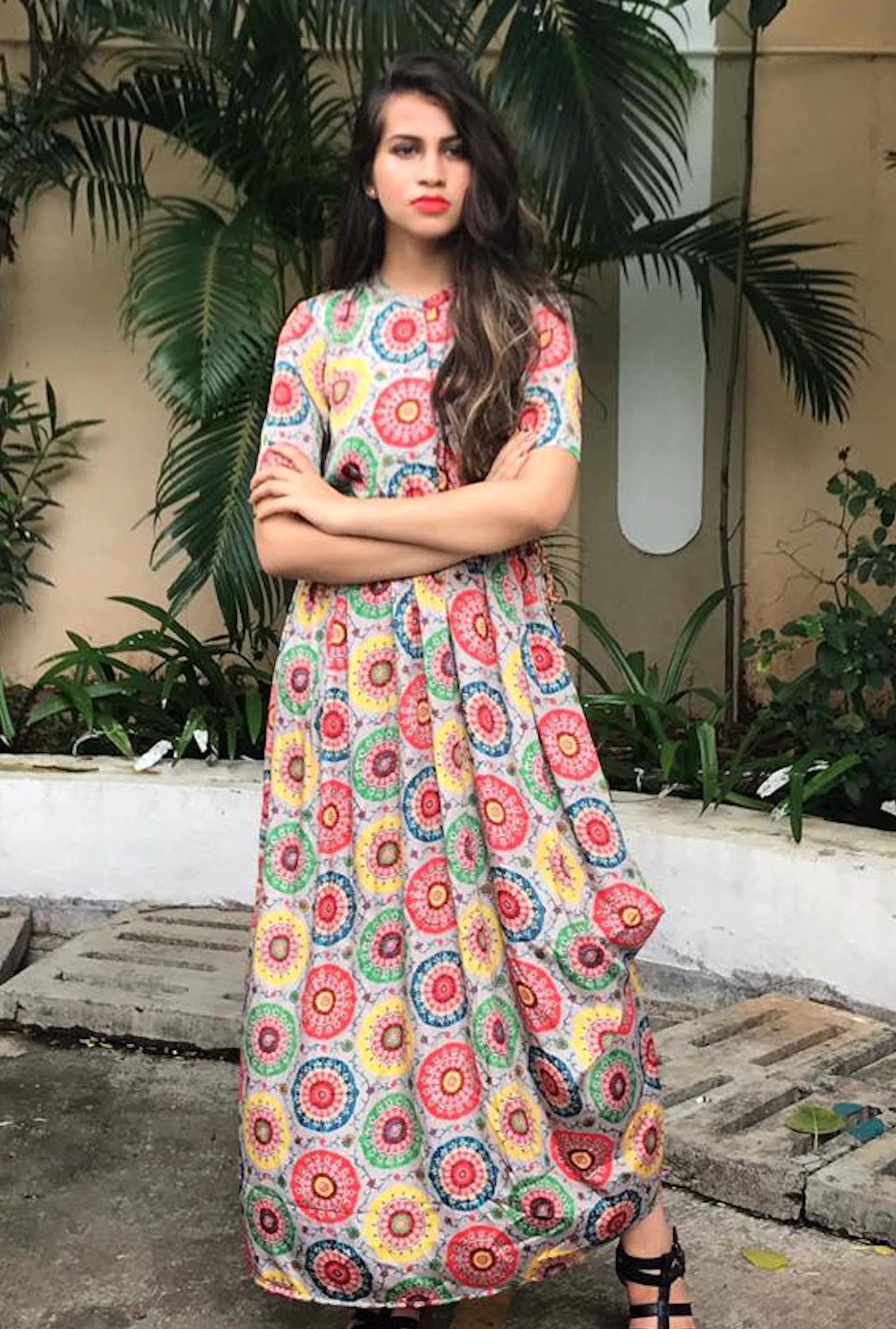 Multi colour cowl dress
