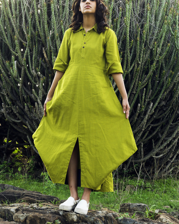 Lime Green asymmetric dress