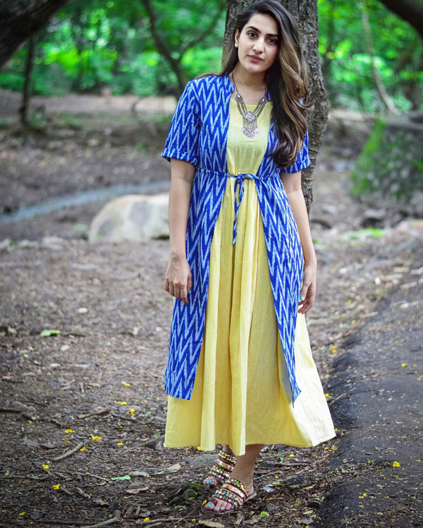 Blue ikat layered dress
