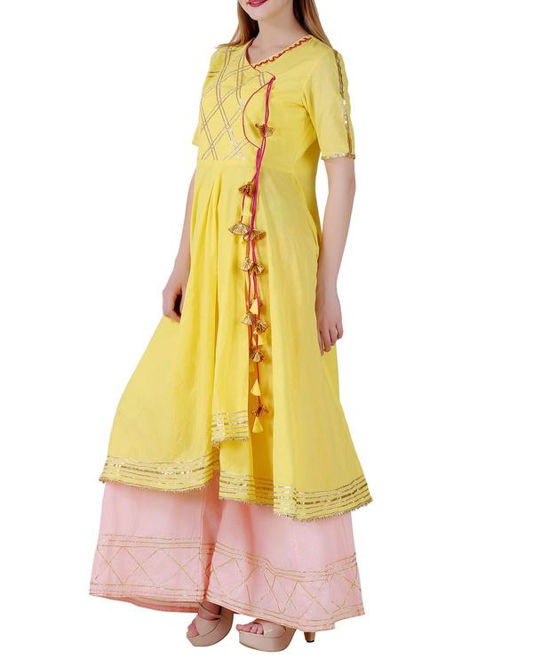 Bright yellow angrakha sharara set