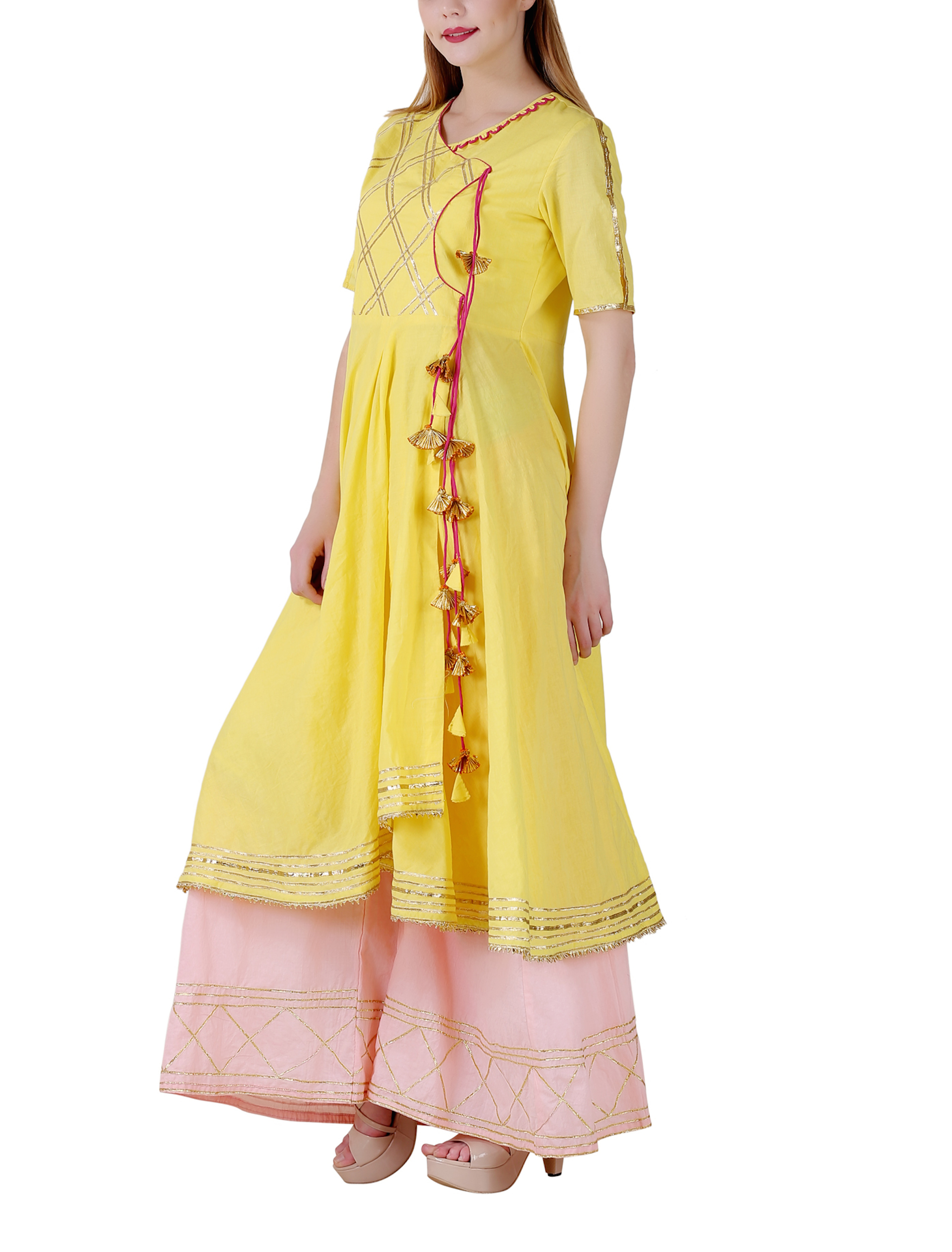Bright yellow angrakha sharara set