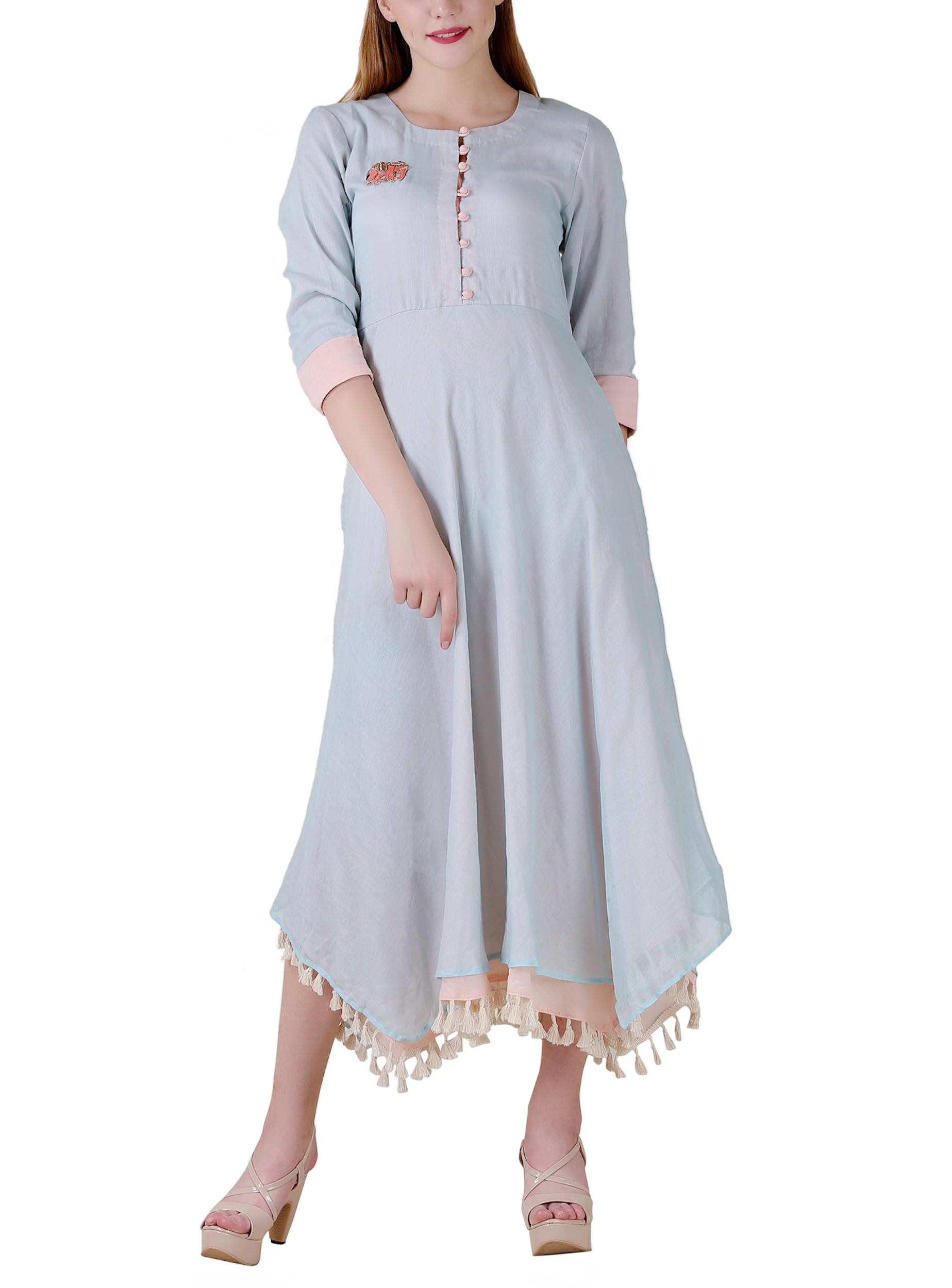 Pale blue high low double layered dress