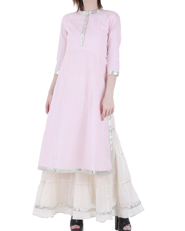 Pale pink sharara set