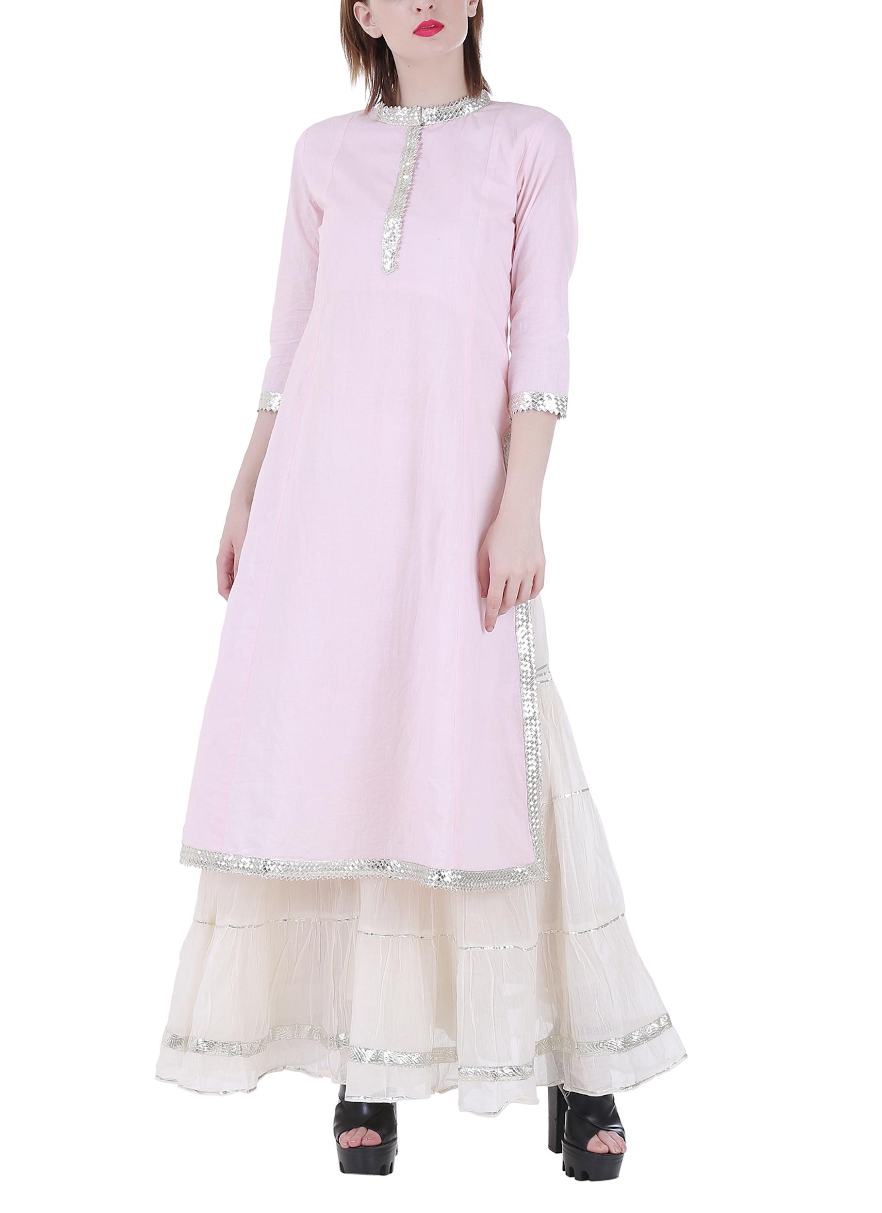 Pale pink sharara set