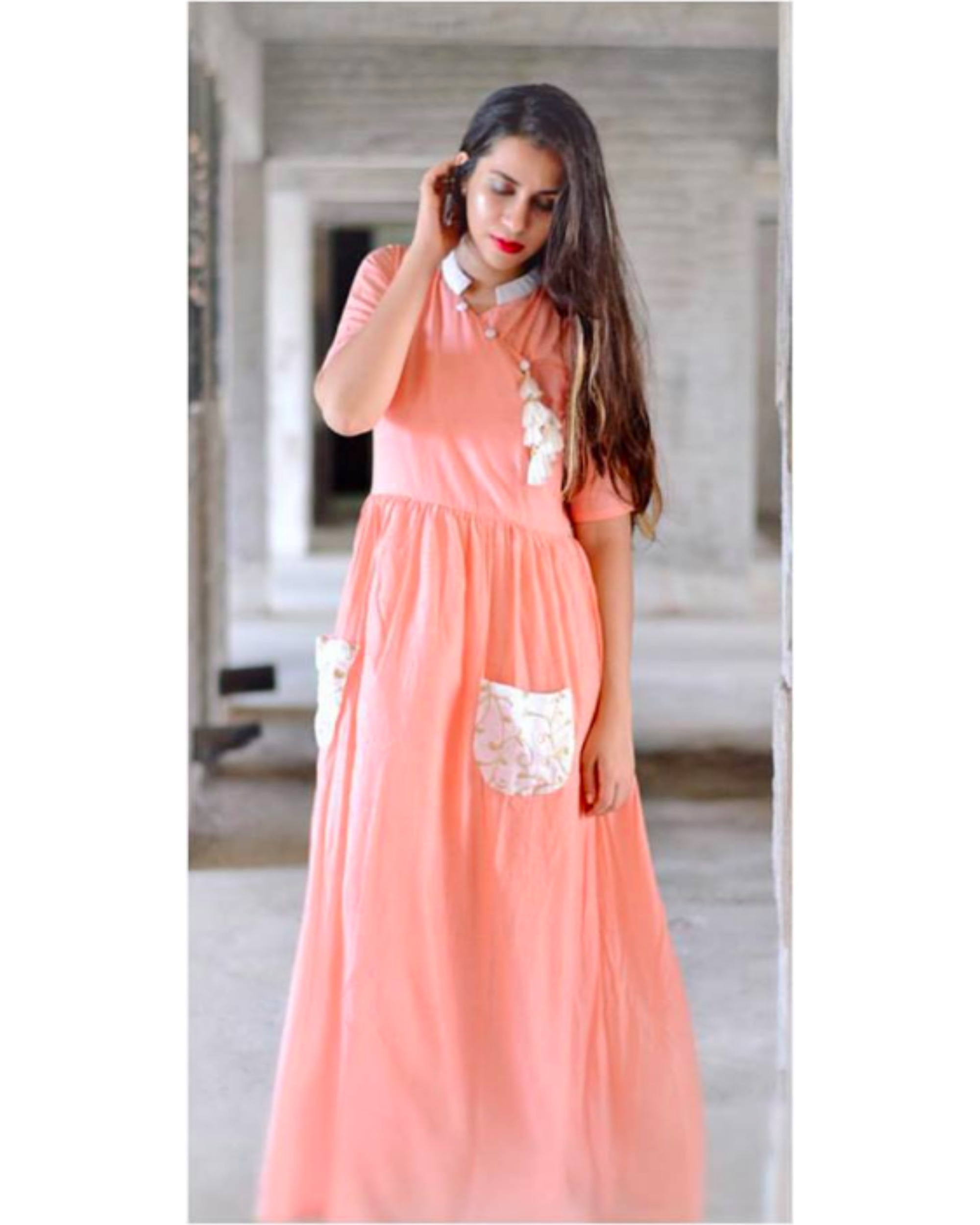 Peach tasseled dress
