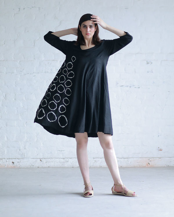 Black shibori flared dress