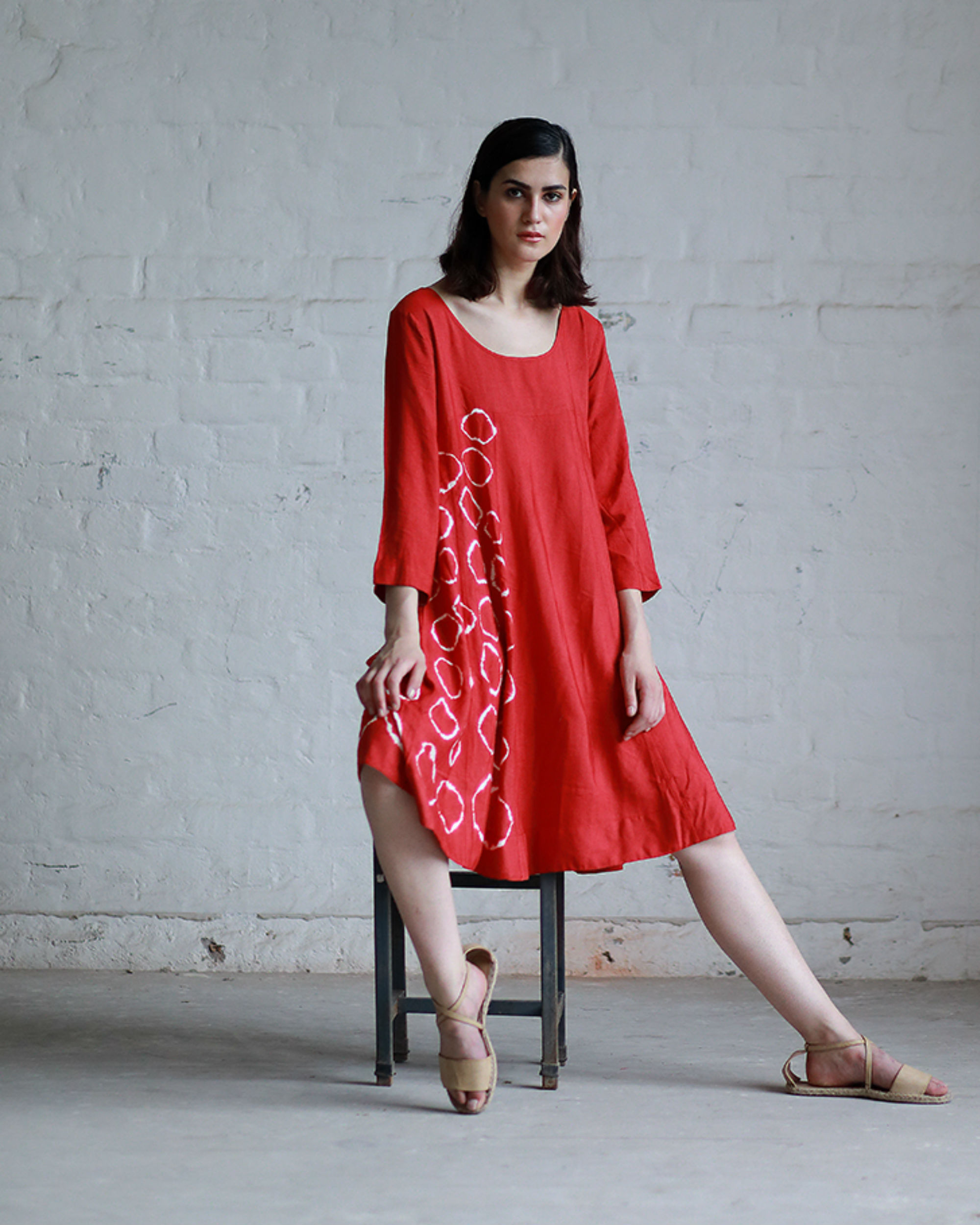 Red shibori flared dress