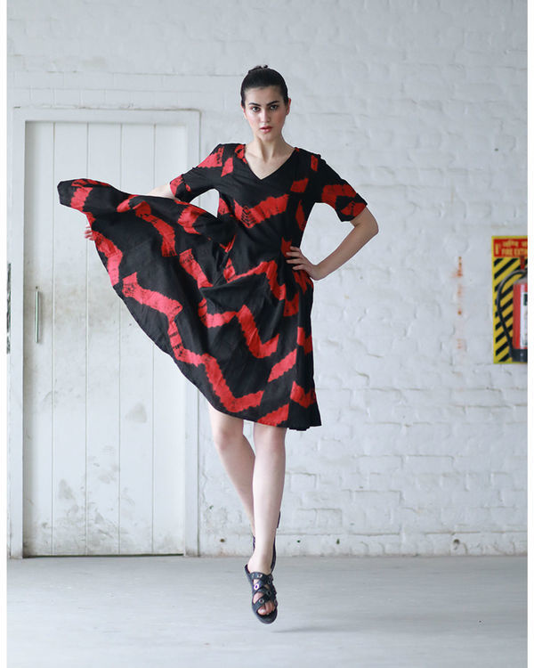 Red and black shibori dress