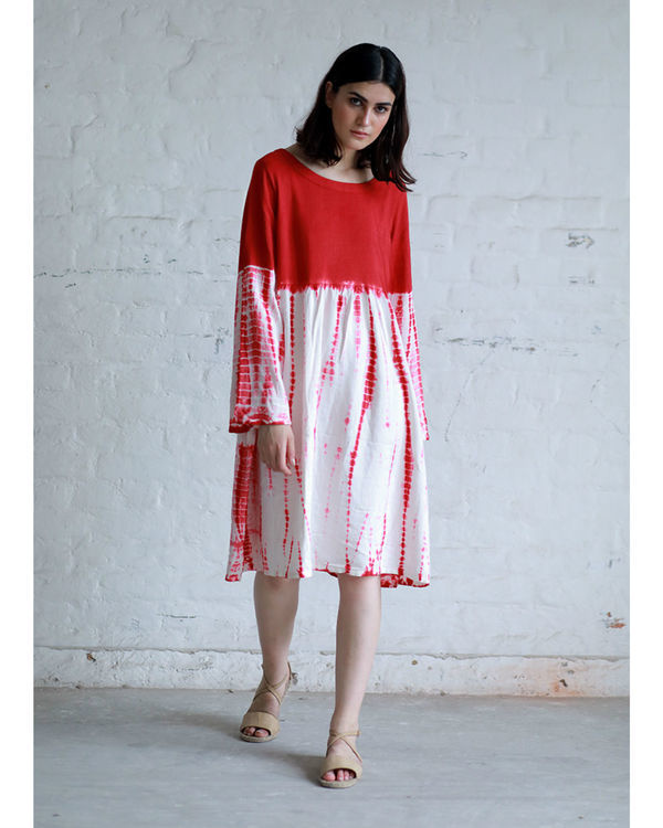 Red accordion dyed dress