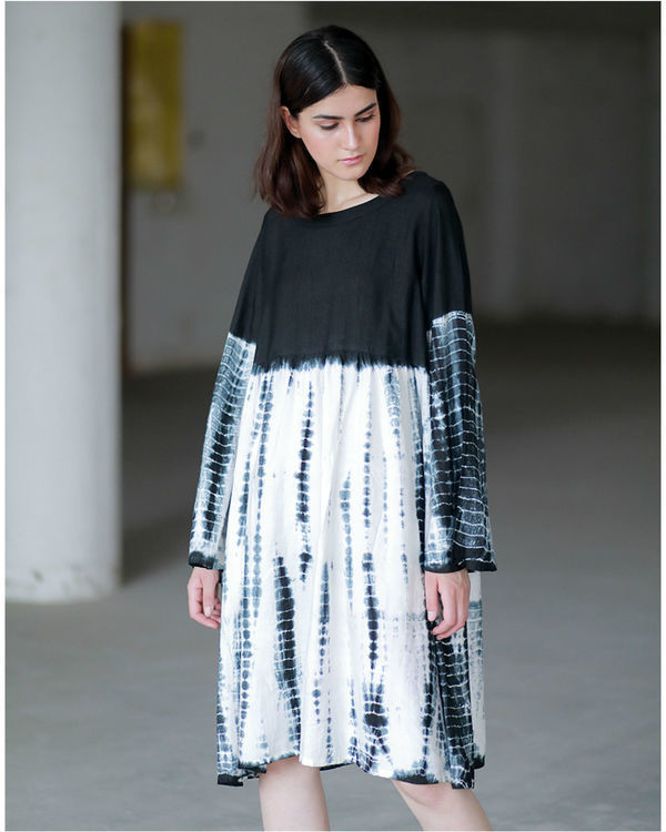 Black accordion dyed dress