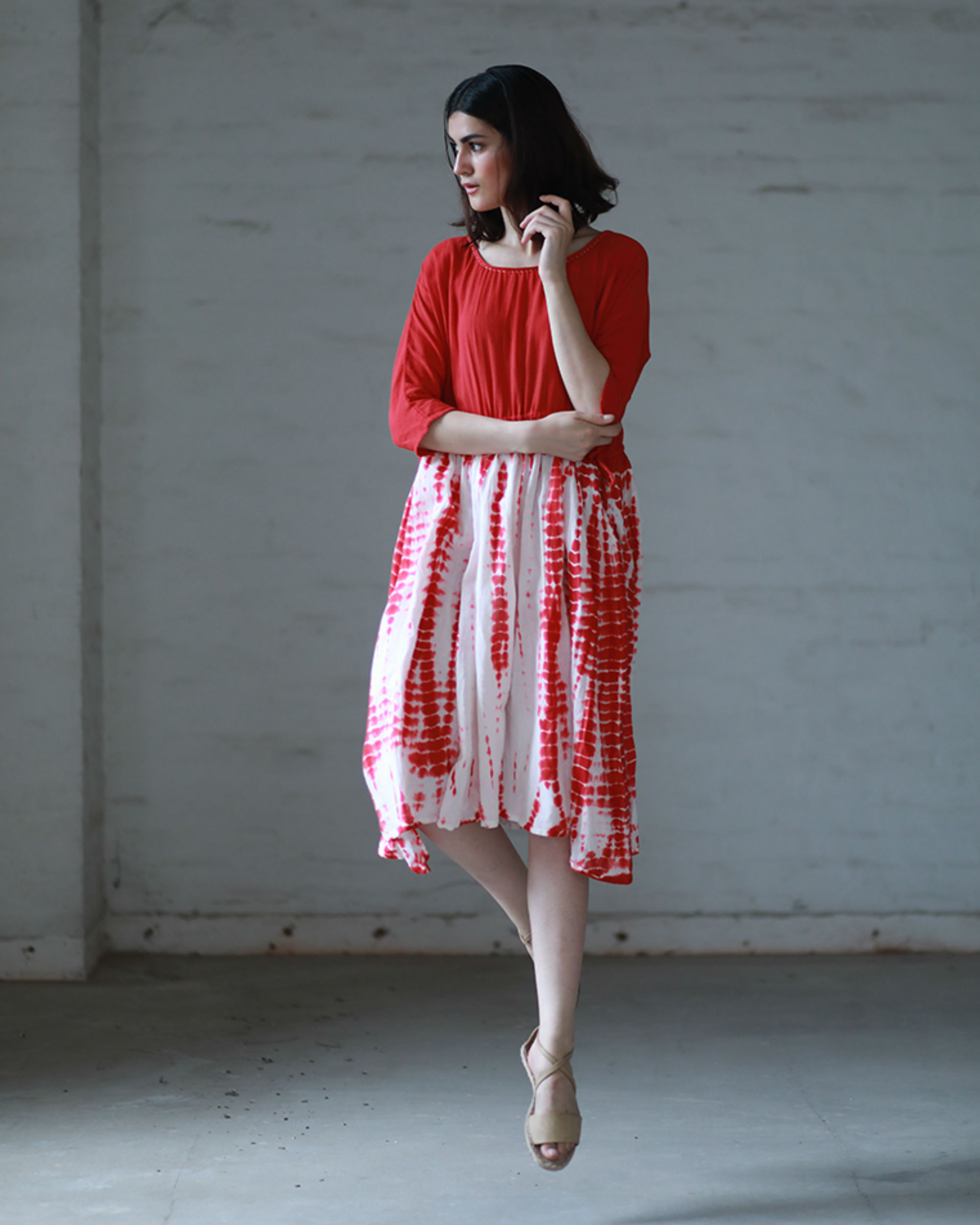 Red and white tie and dye tunic
