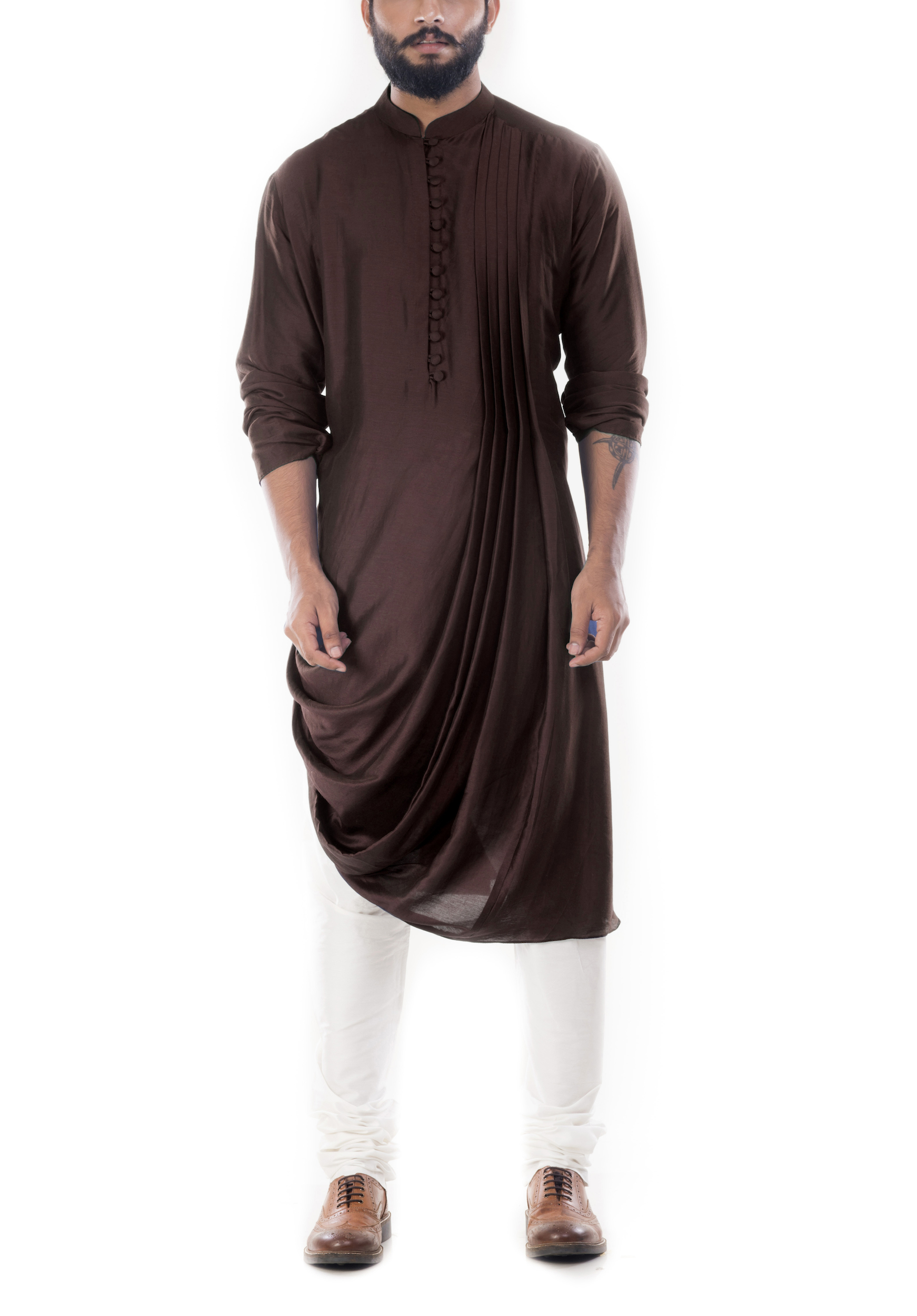 Cedar brown cowl draped kurta with churidar pants