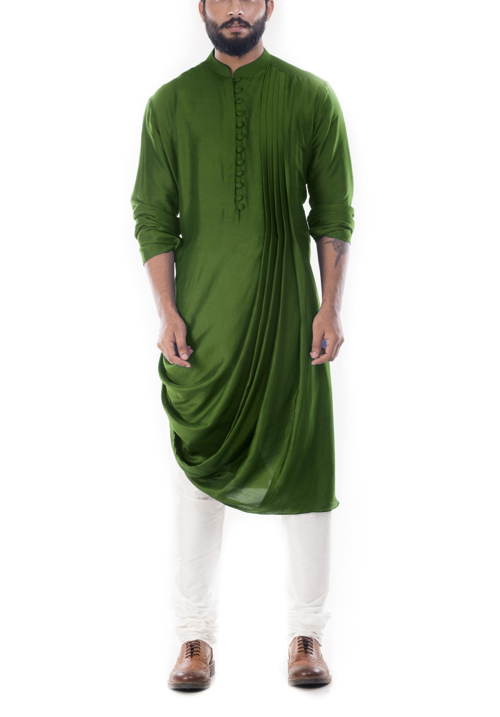 Moss green cowl draped kurta with churidar pants
