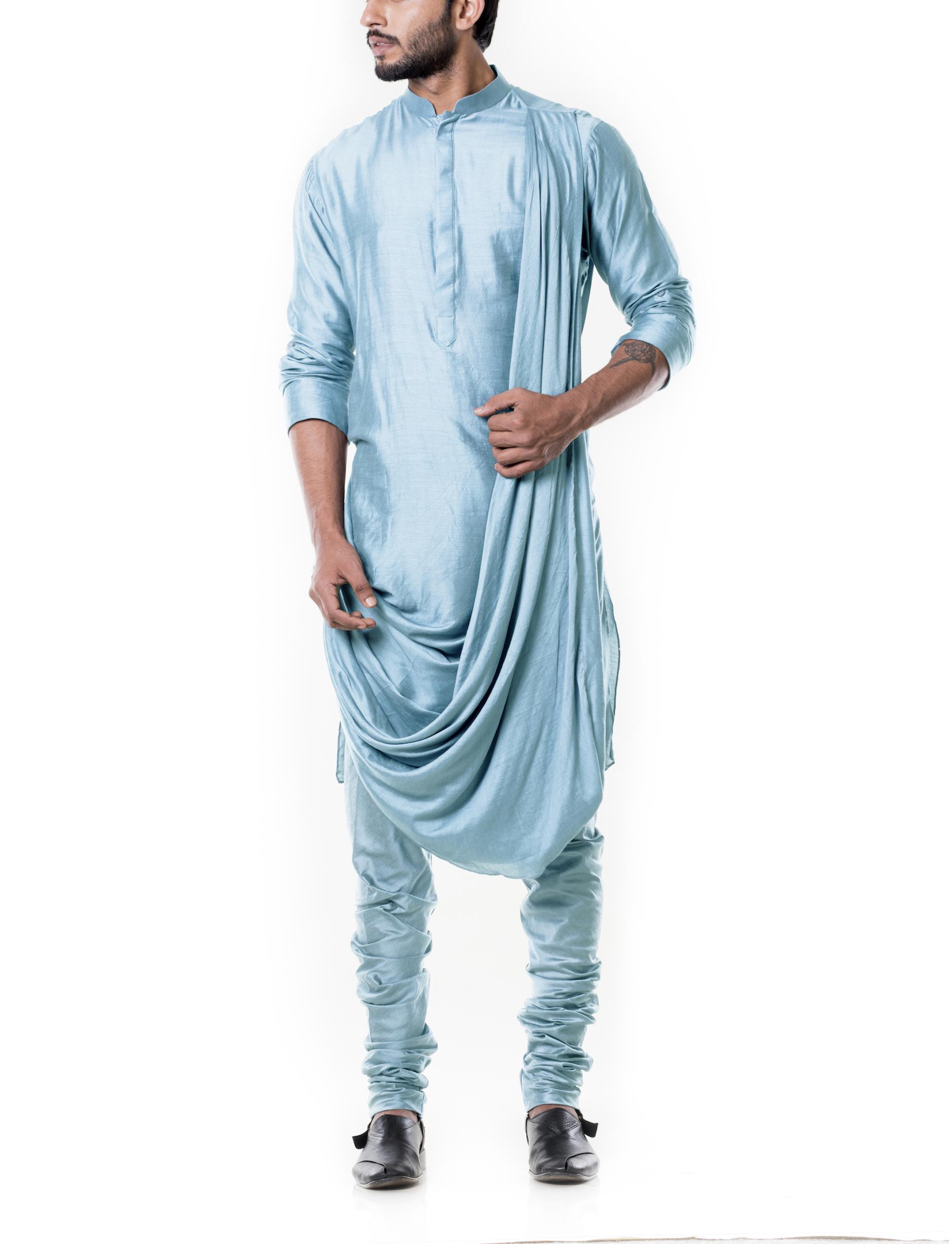 Baby blue cowl kurta set