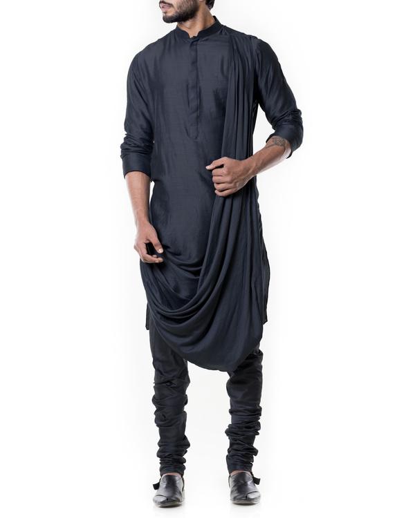 Grease black cowl kurta set