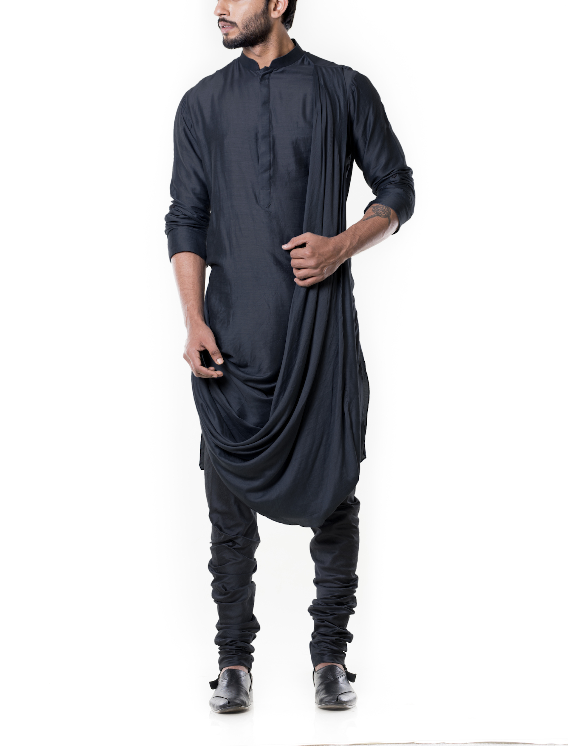 Grease black cowl kurta set