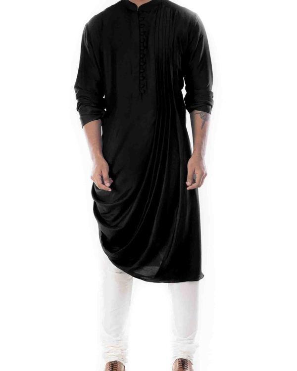 Raven black cowl draped kurta with churidar pants