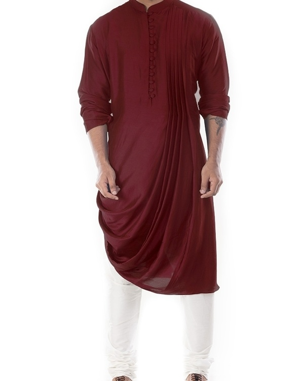 Rosewood cowl draped kurta with churidar pants