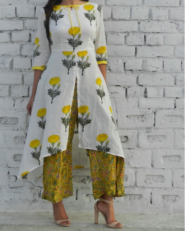 Yellow mogra high low cape with pants