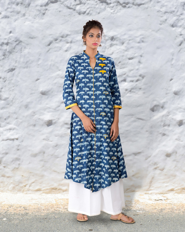Indigo hand block cotton kurta