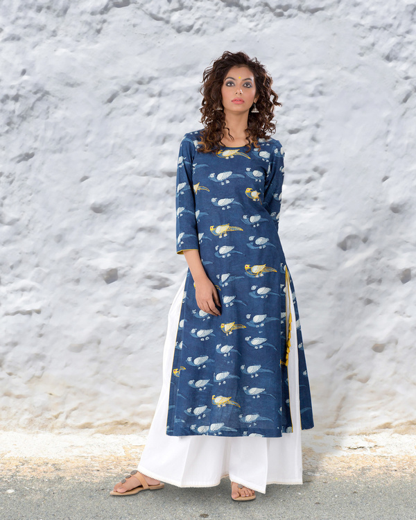 Indigo hand block cotton kurta with thread highlights