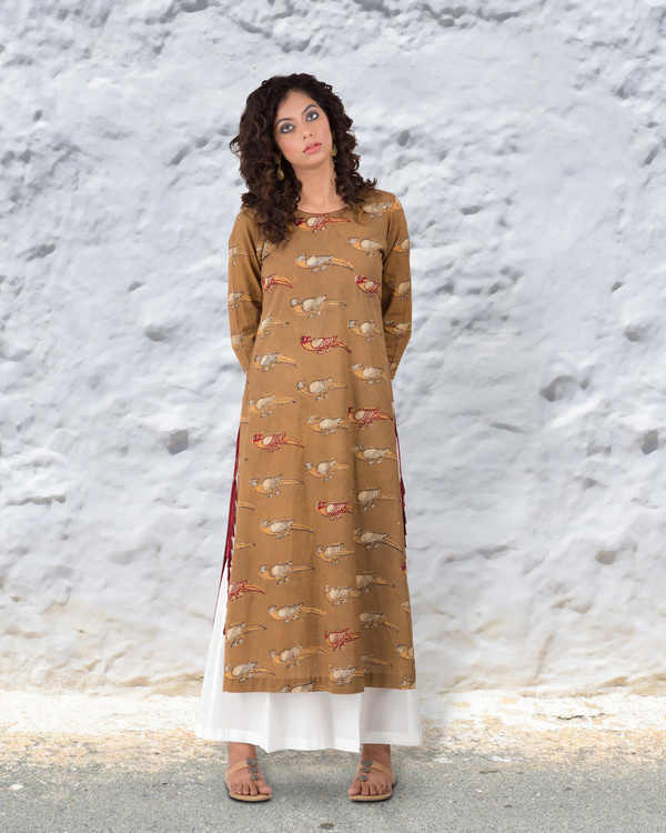 Turmeric colour hand block cotton kurta with thread highlights