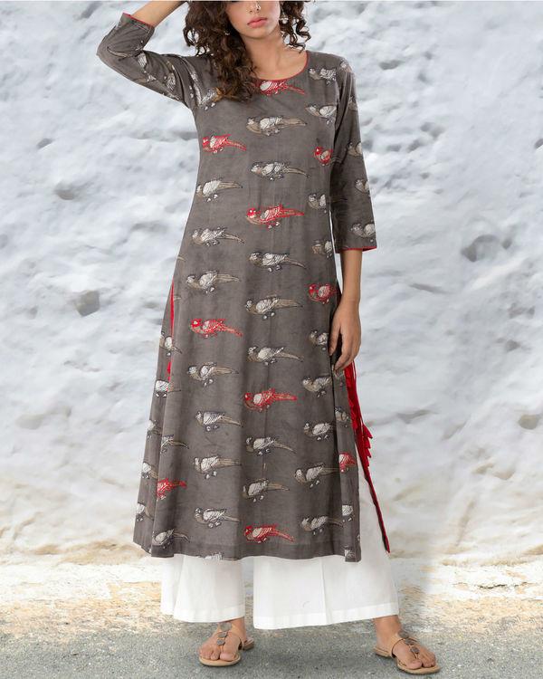 Grey brown hand block cotton kurta with thread highlights