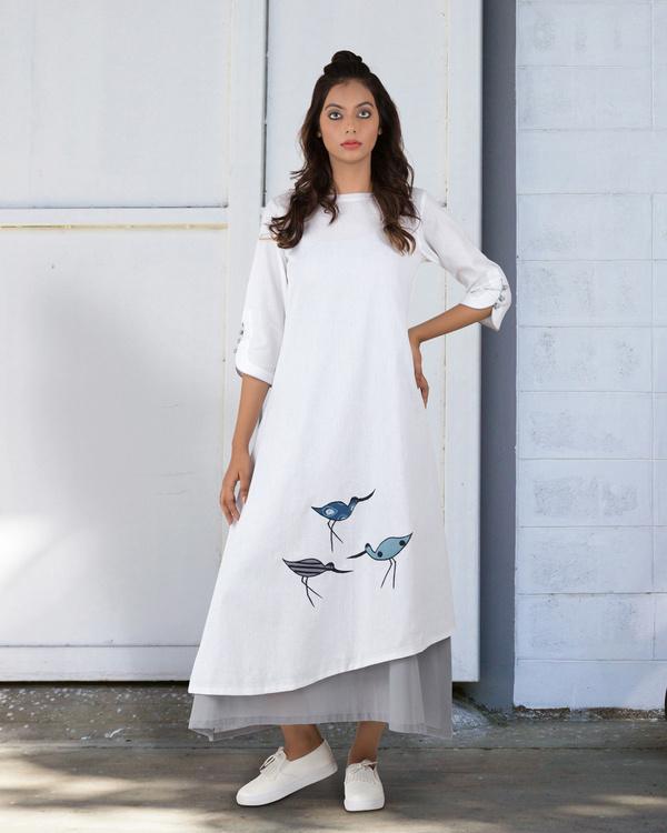 White a-line asymmetrical hem dress