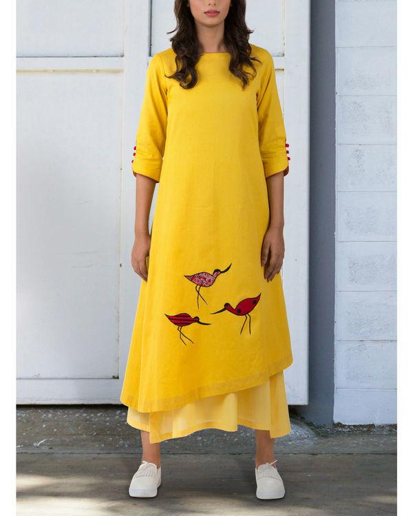 Yellow a-line asymmetrical hem dress