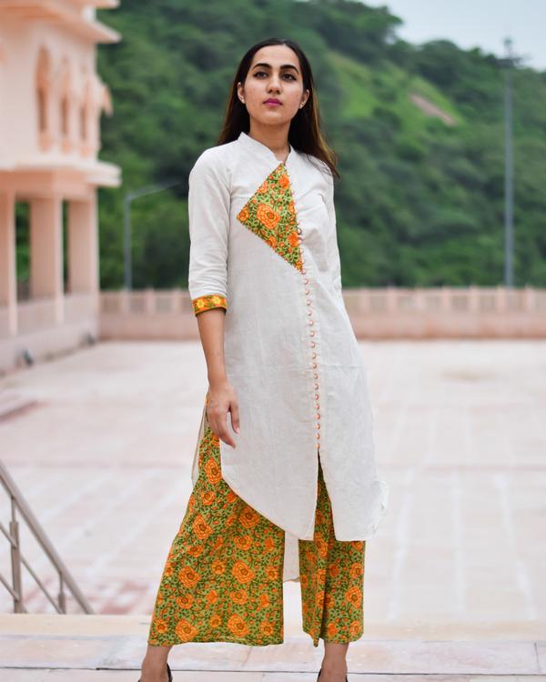 Block printed kurta culottes set