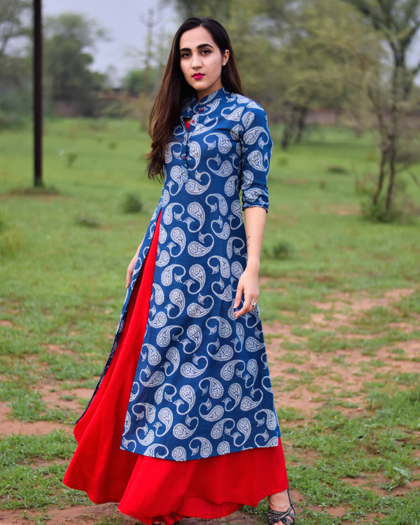 Blue & red printed rayon double layered dress