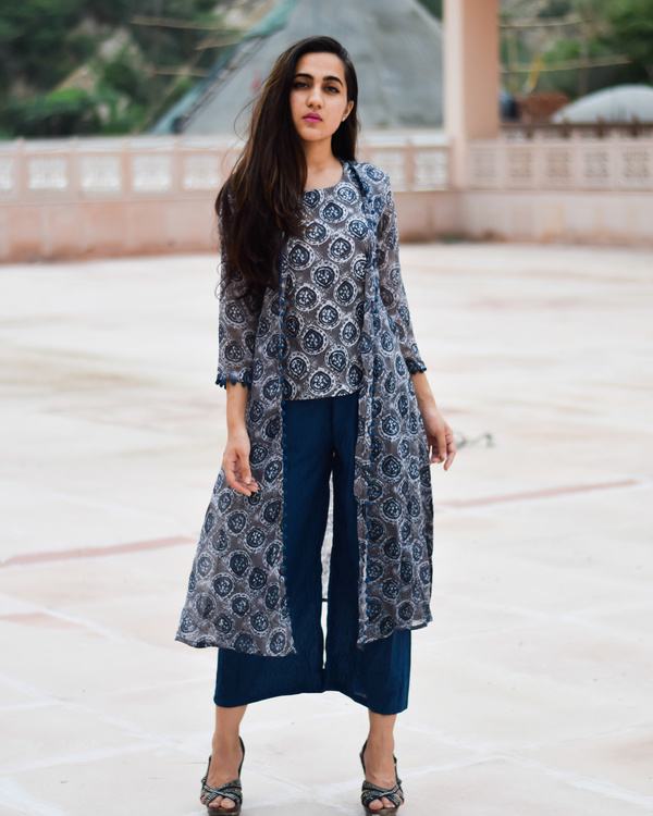 Prussian blue block printed dress