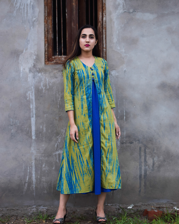 Green and blue tie and dye double layered dress