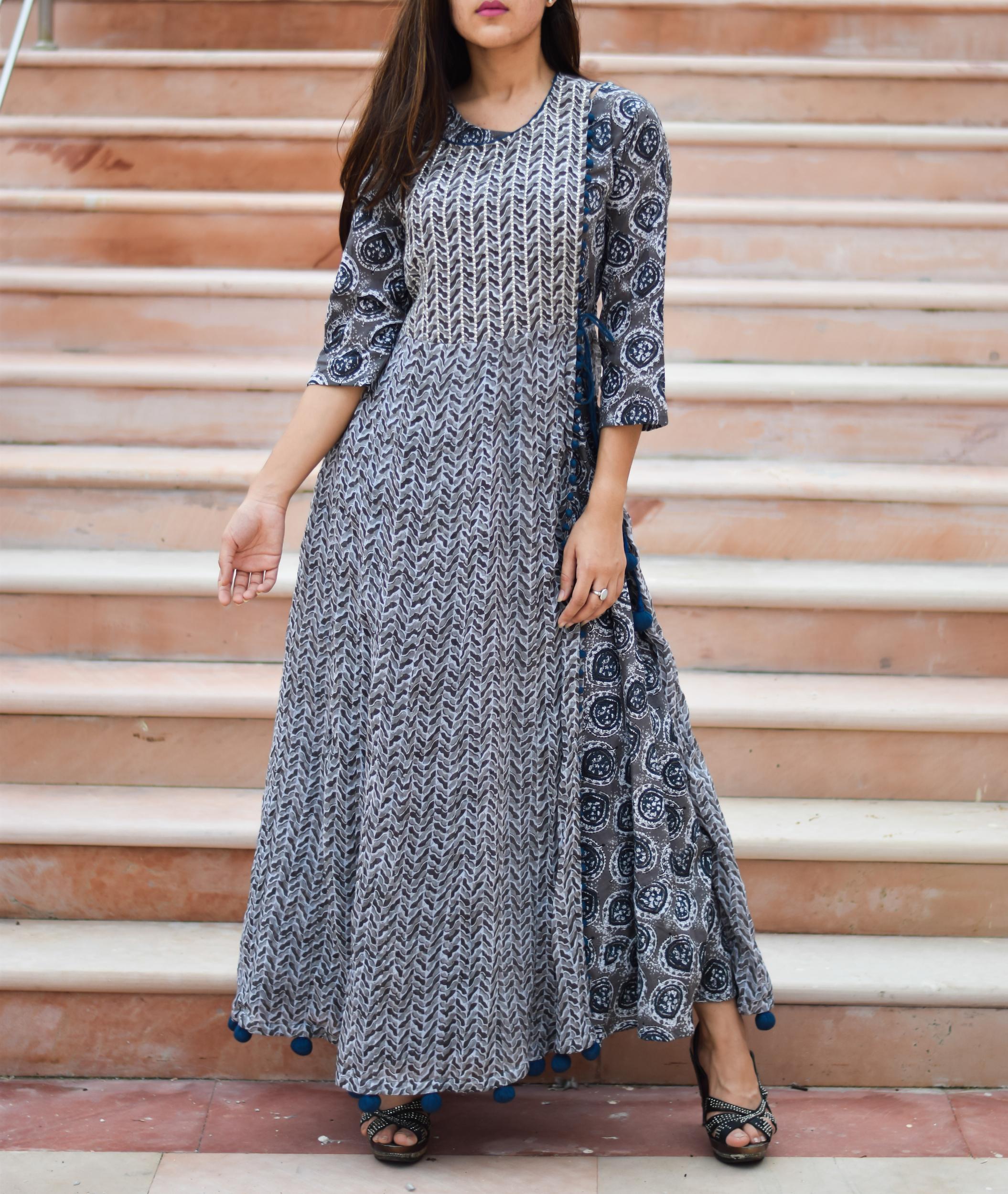 Prussian blue block printed dress
