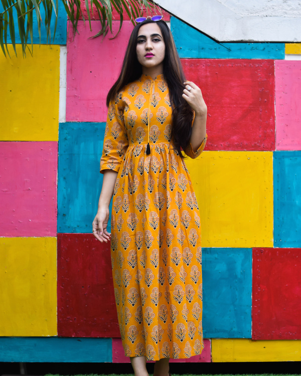 Yellow majestic floral printed long dress