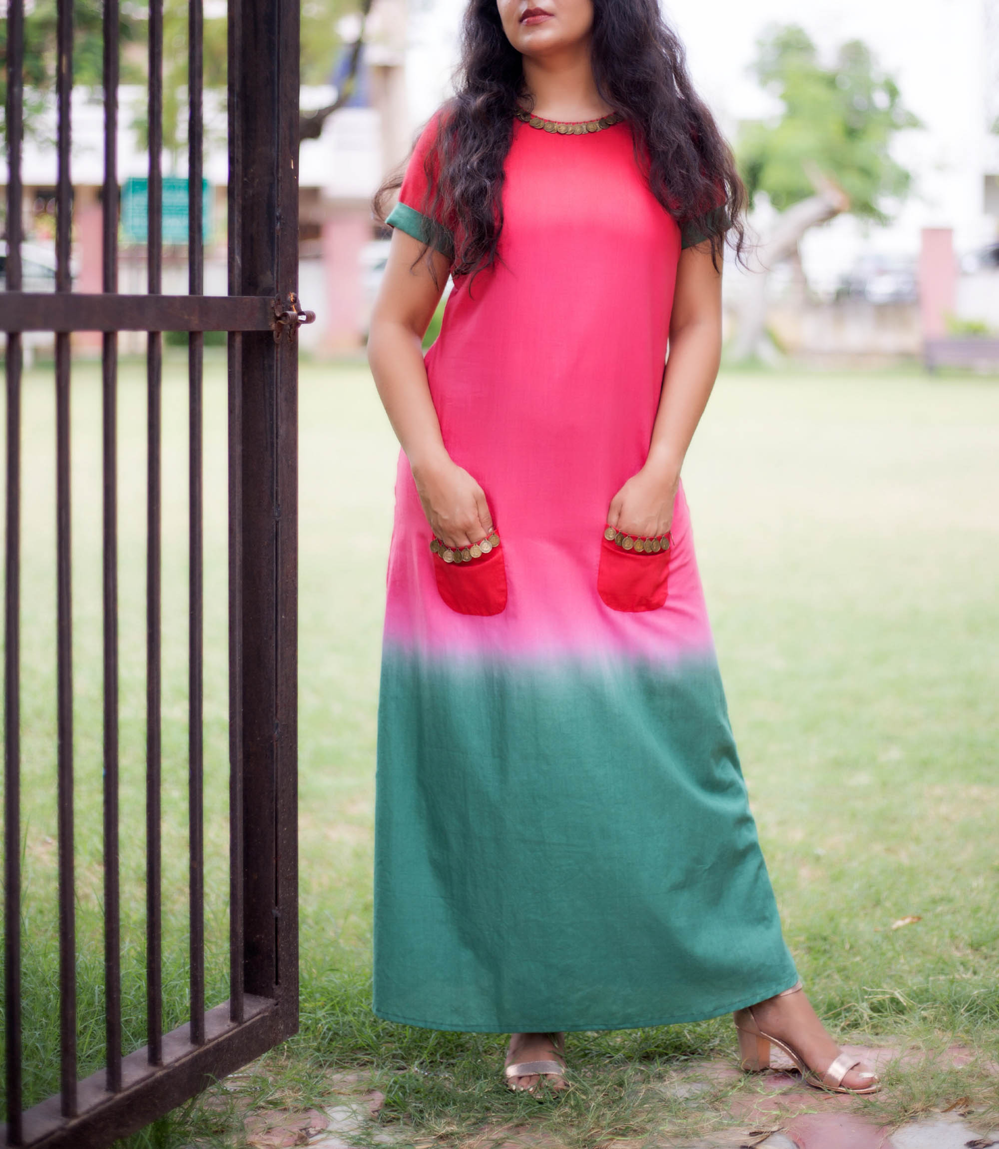 Pink and green pocket dress