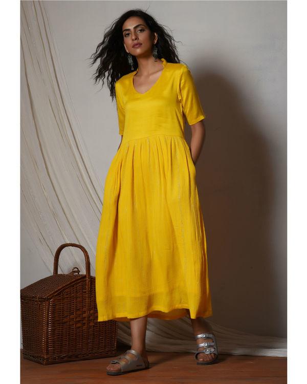 Yellow crinkled flare kurta dress