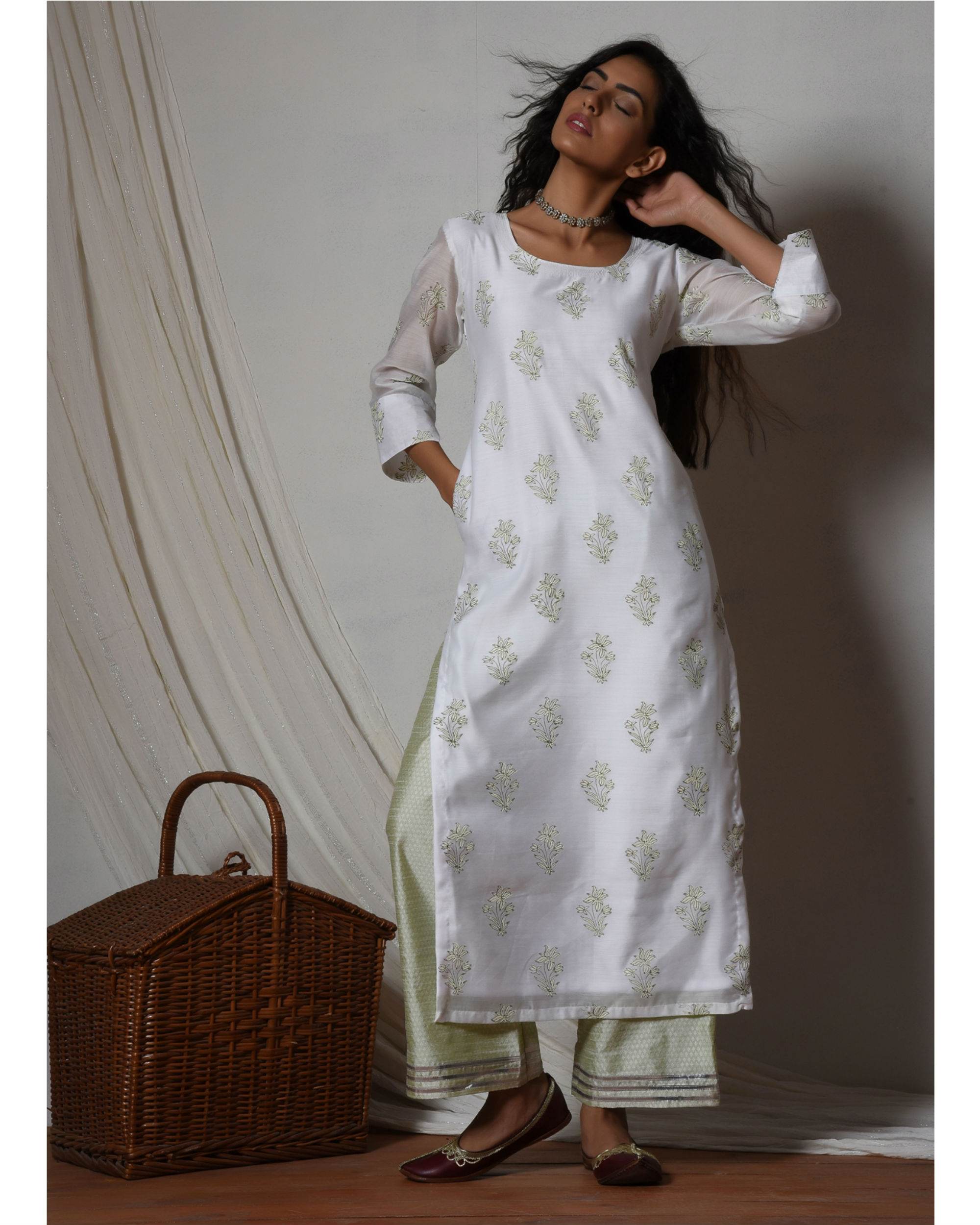 Floral white kurta with mint green stripe silk farshi pant