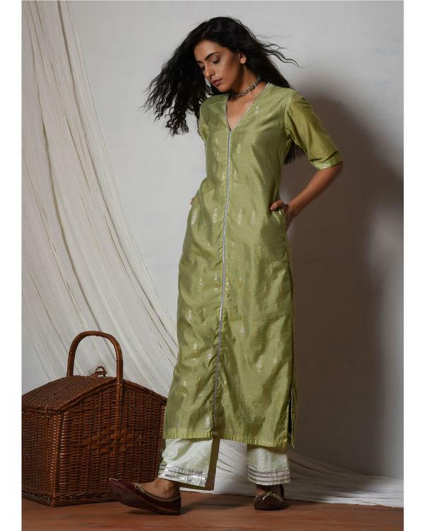 Green chanderi kurta with mint green stripe silk farshi pant