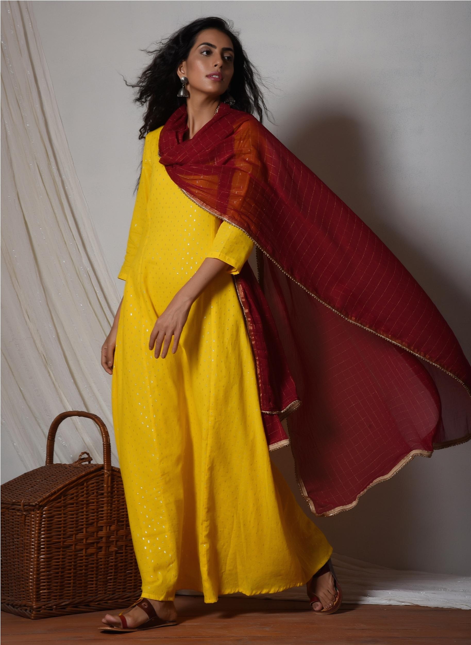 Yellow kurta dress with red chiffon dupatta