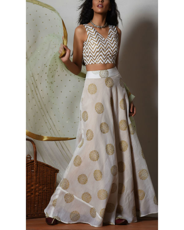White gold block print lehenga set
