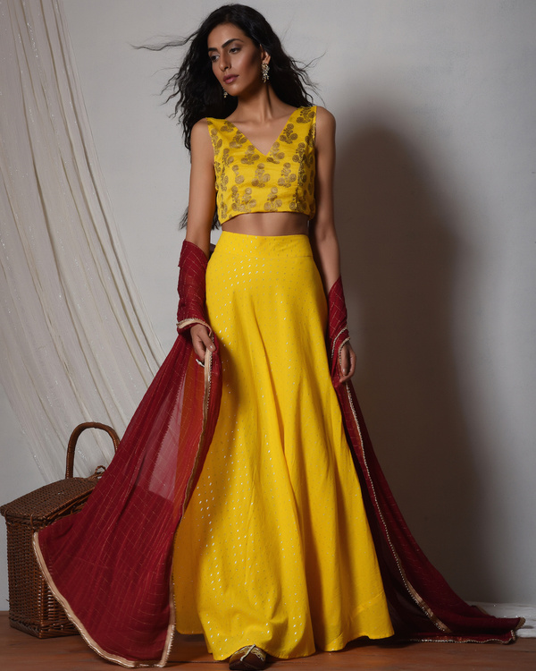 Yellow and gold booti choli lehenga set