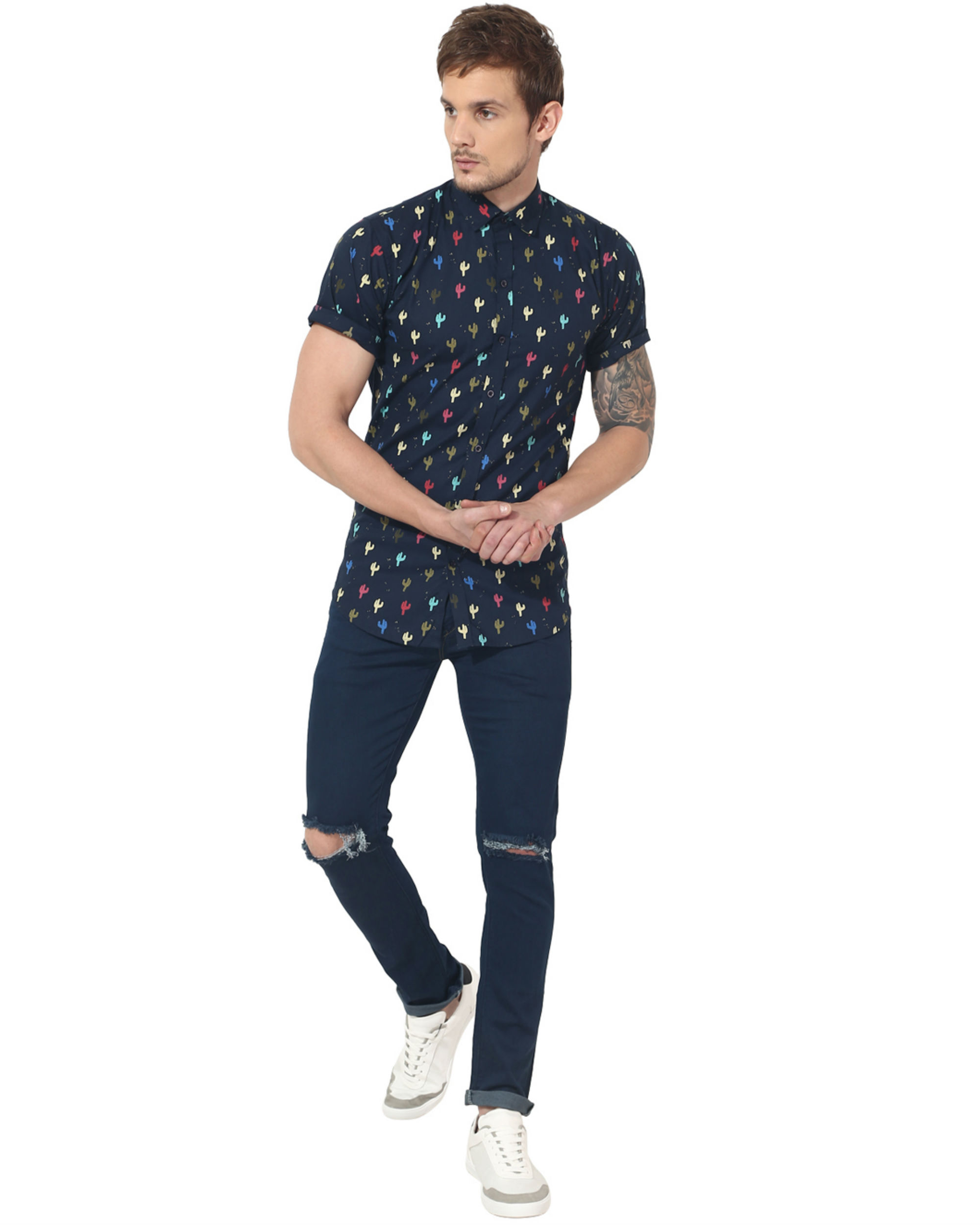 Blue cactus printed casual shirt