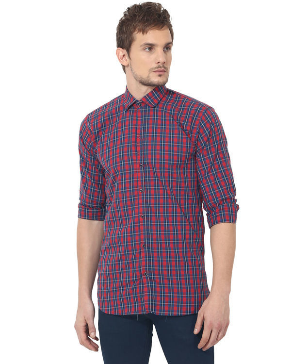 Red & blue checks casual shirt