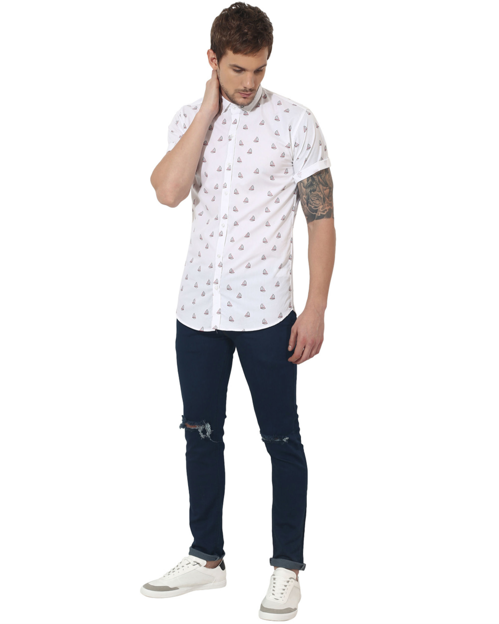 White boat printed casual shirt