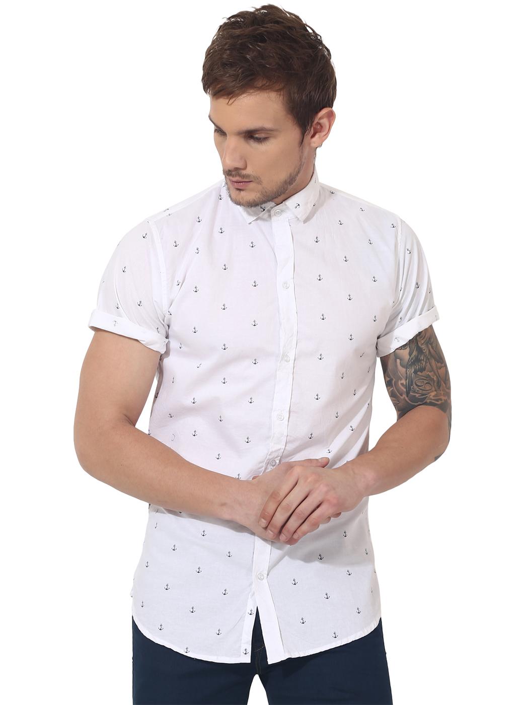 White anchor printed casual shirt
