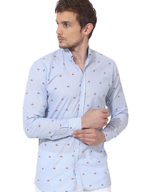 Sky blue scooter printed casual shirt