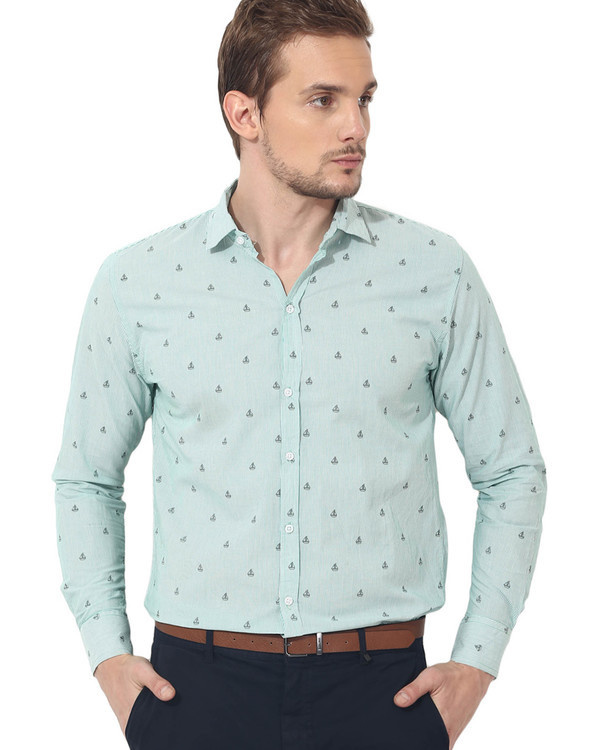 Green boat printed casual shirt