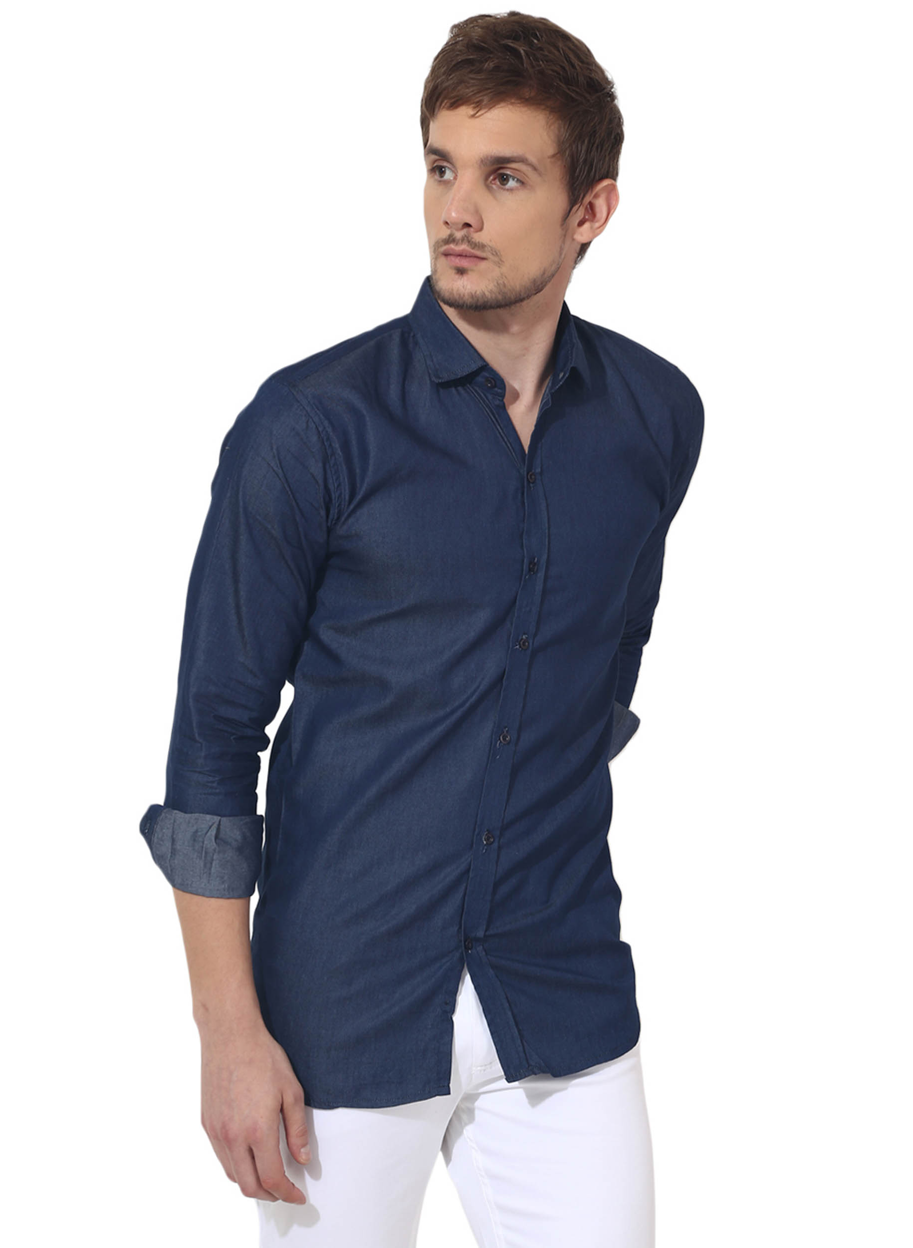 Blue denim solid casual shirt