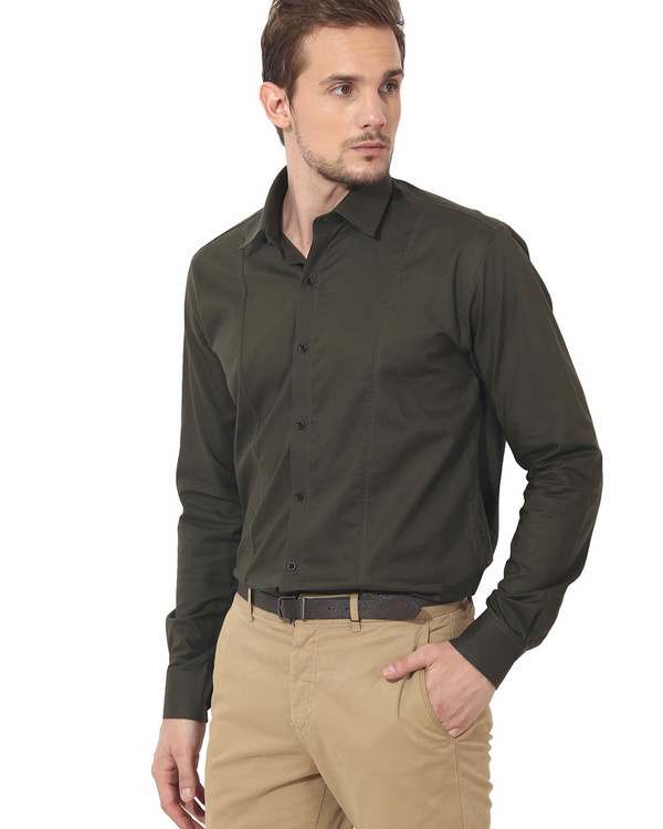 Olive solid club wear shirt